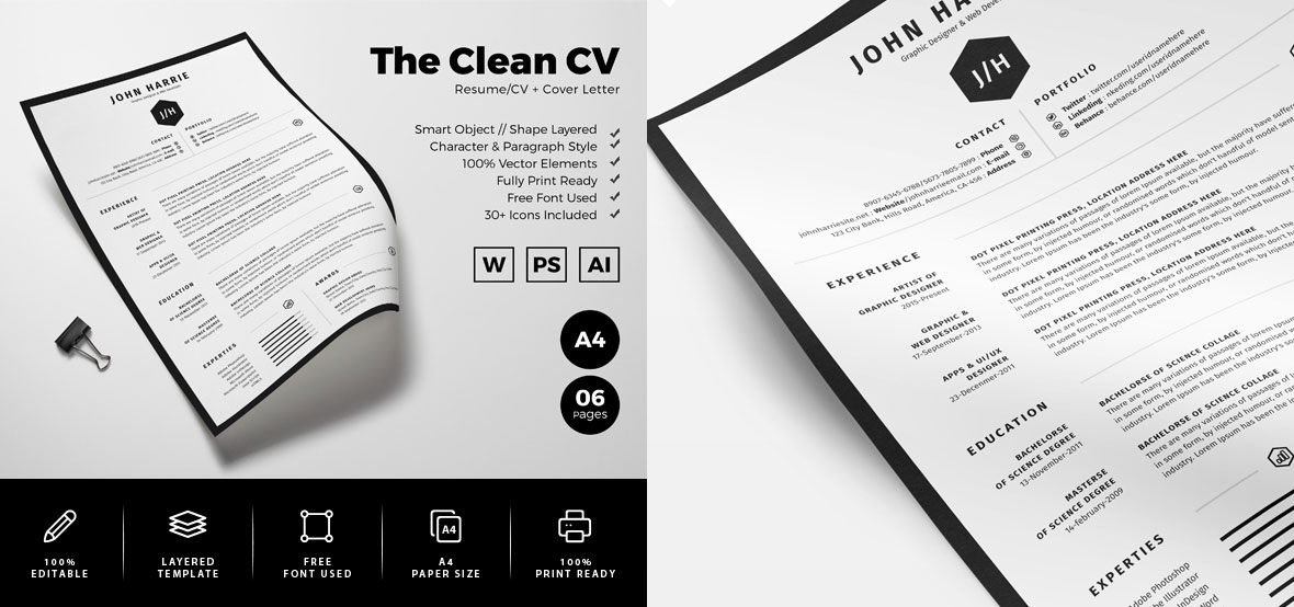 Fre-Clean-Resume-CV-+-Cover-Letter-Template-in-Word,-PSD-&-AI