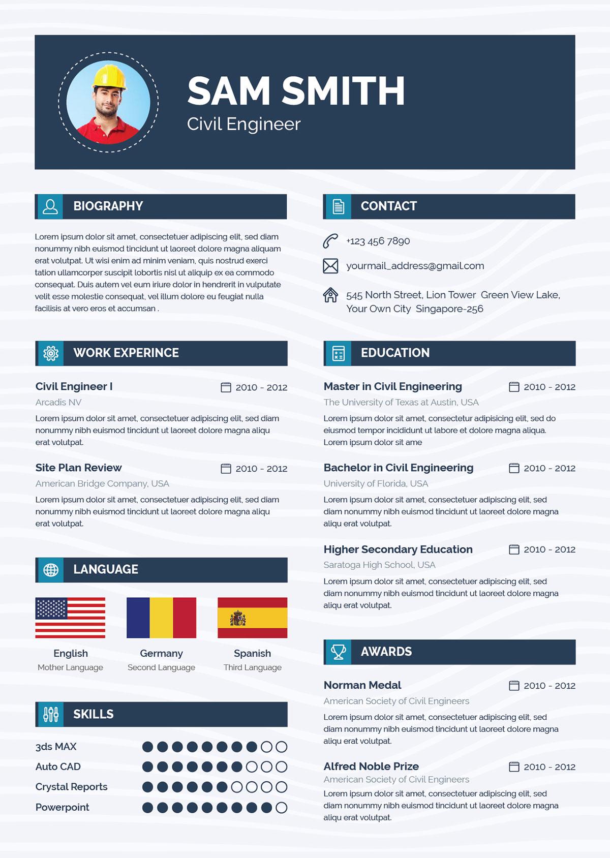 Free-Ai-Resume-CV-Template-for-Civil-Engineer