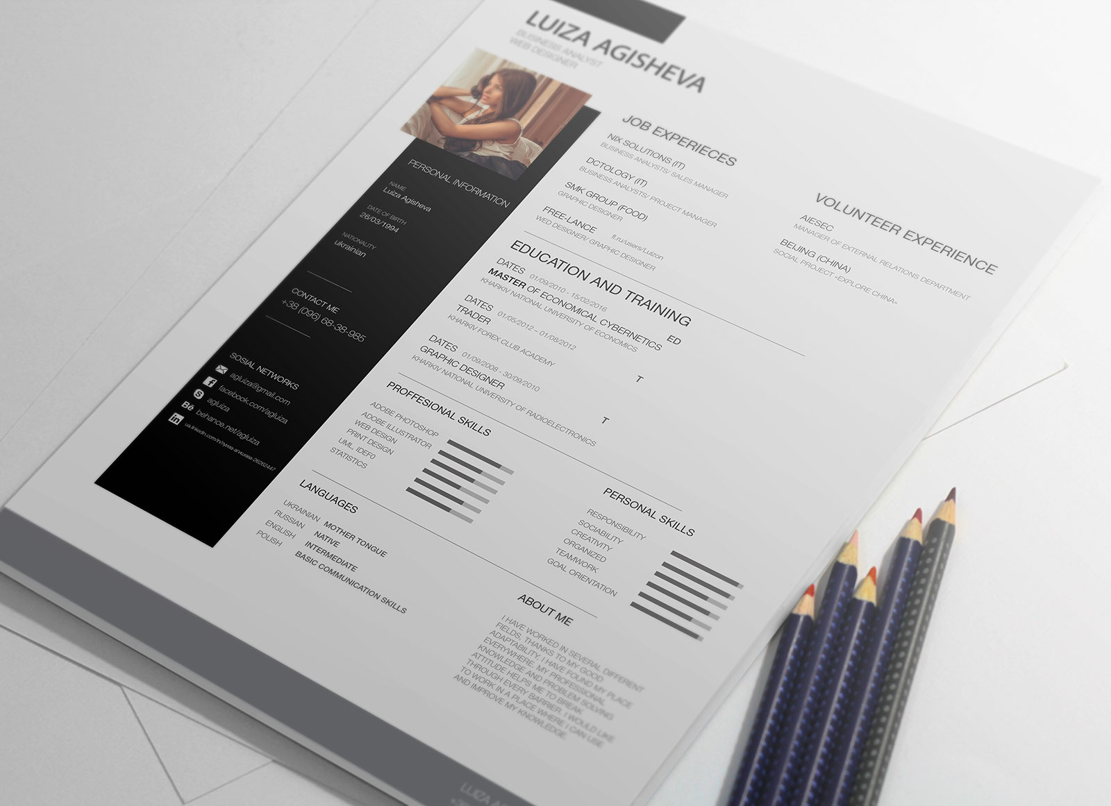 free beatiful cv template for business analyst
