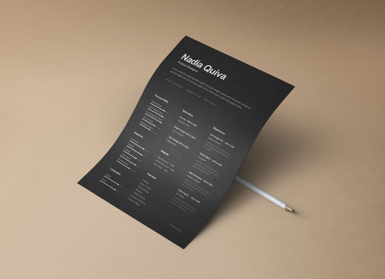 Free Black Ai Resume Template Letterhead & Portfolio for Product Desginer (4)