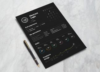 Free Black Creative Resume CV Design Template for Art Directors & Photographer