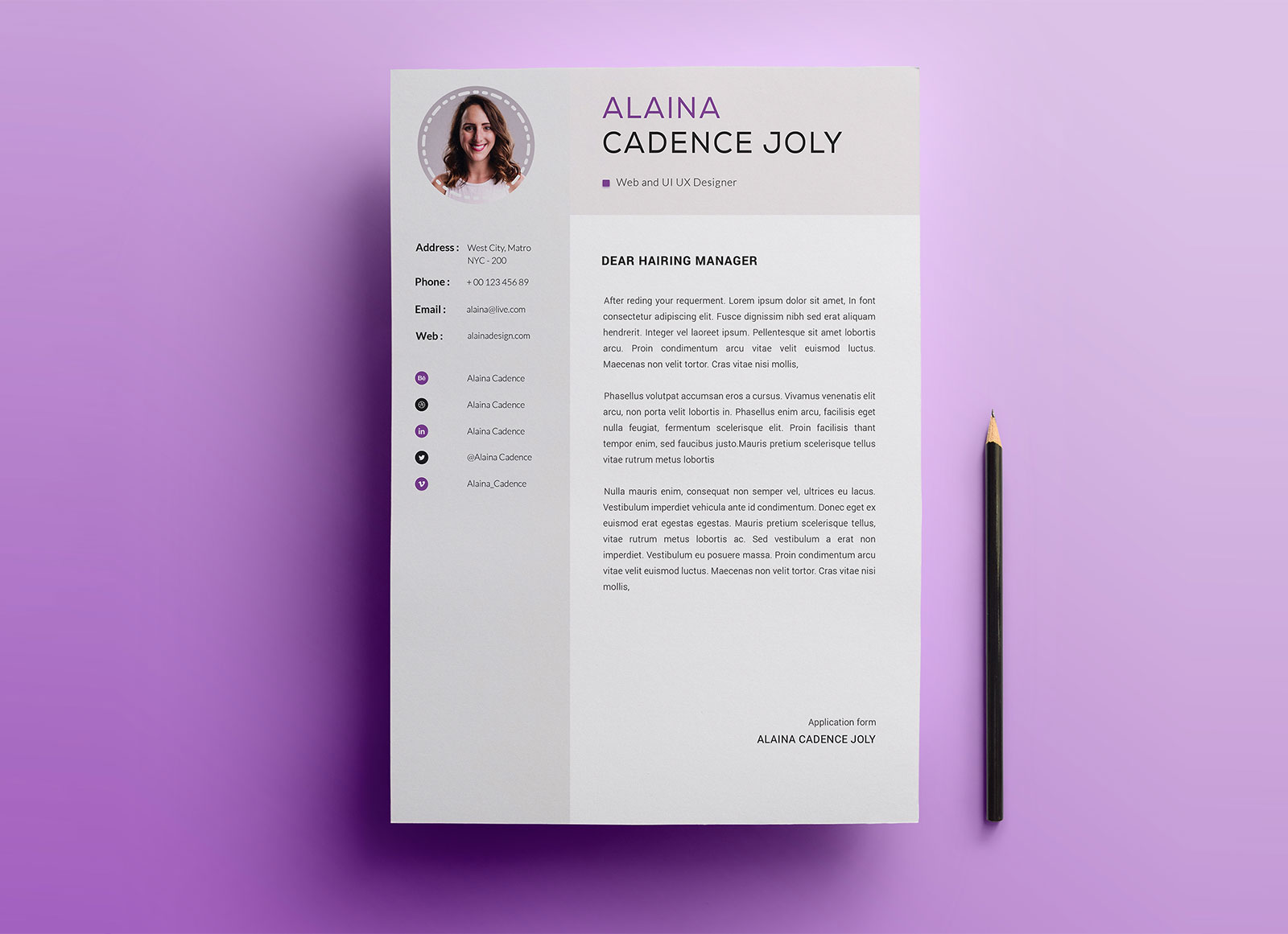 Free-Clean-&-Professional-Resume-With-Cover-Letter-PSD-2