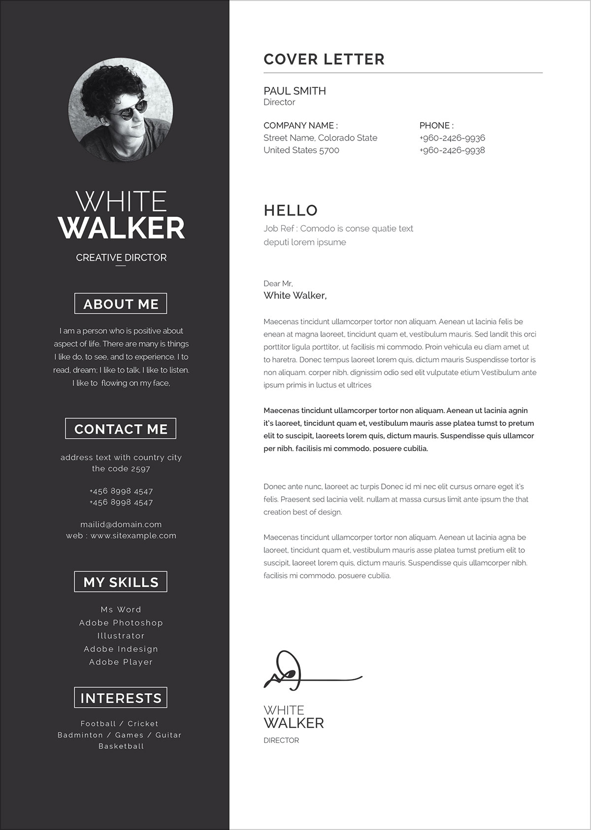 free clean resume template  u0026 cover letter in word  psd  pptx  u0026 eps