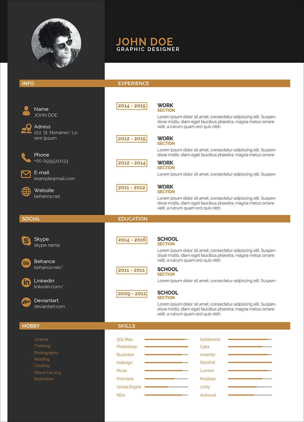 Free Clean Two Color Resume Template In Indesign Indd