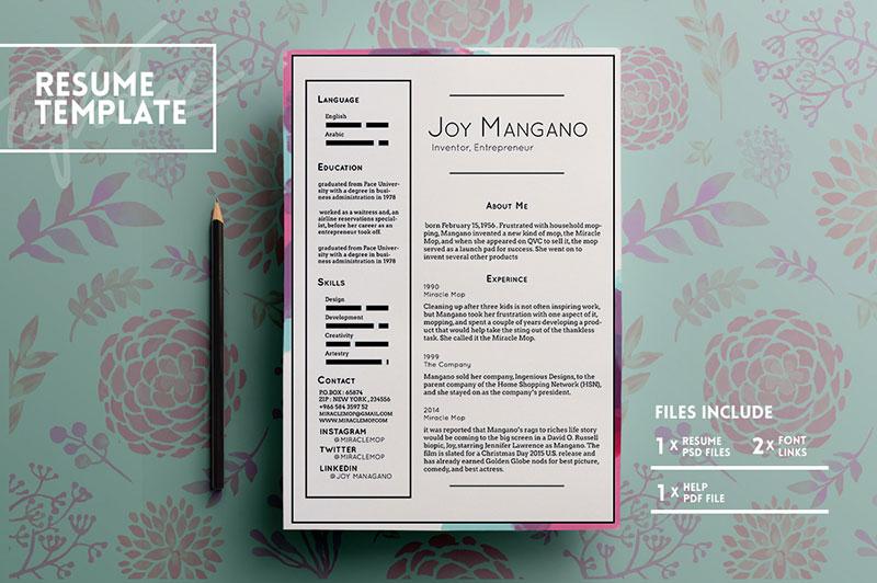 Free-Elegant-Resume-PSD-CV-Template