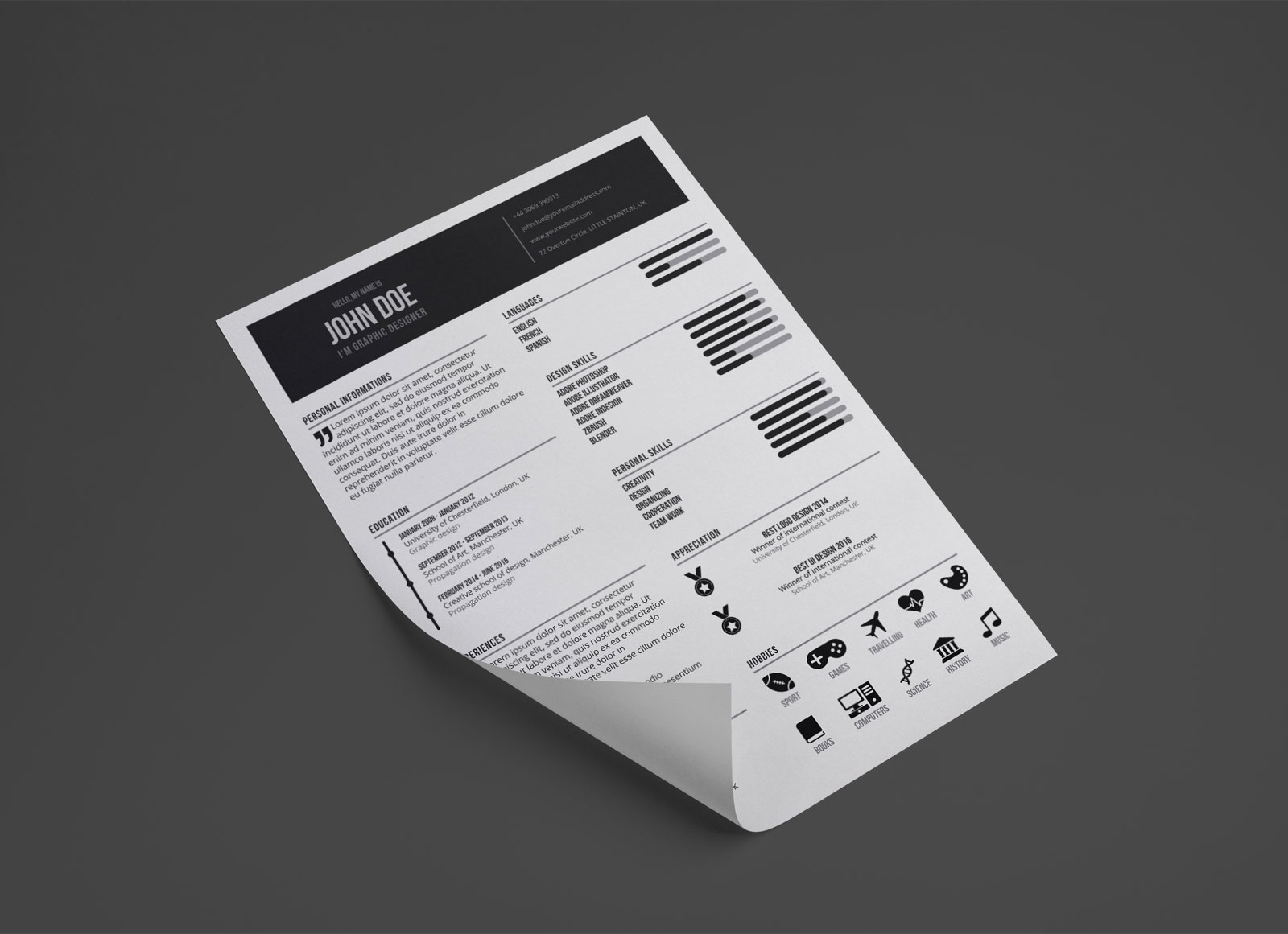 Free-Graphic-Designer-Resume-in-PSD-Format-1