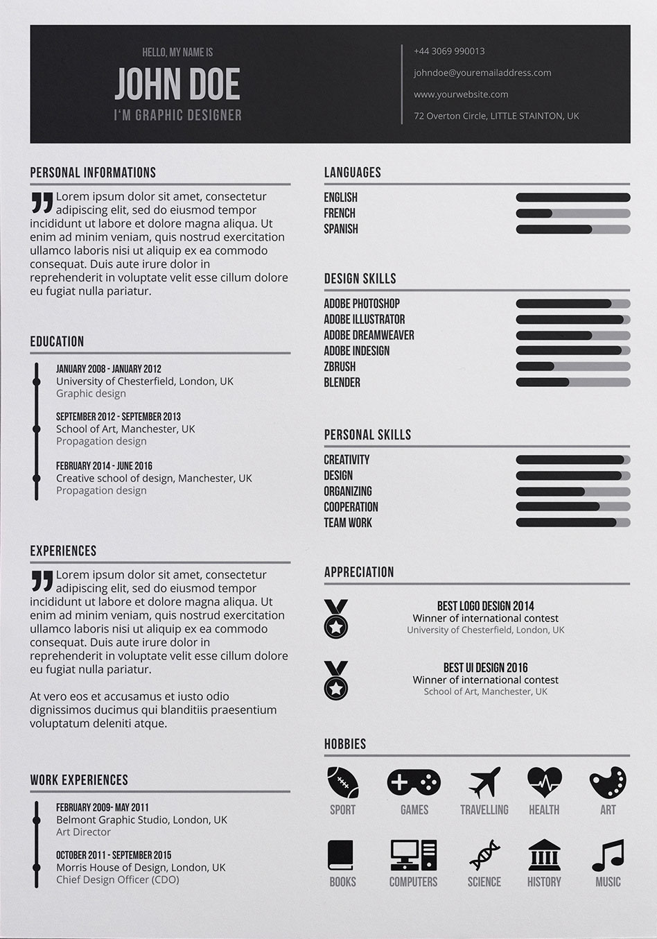 free graphic designer resume in psd format