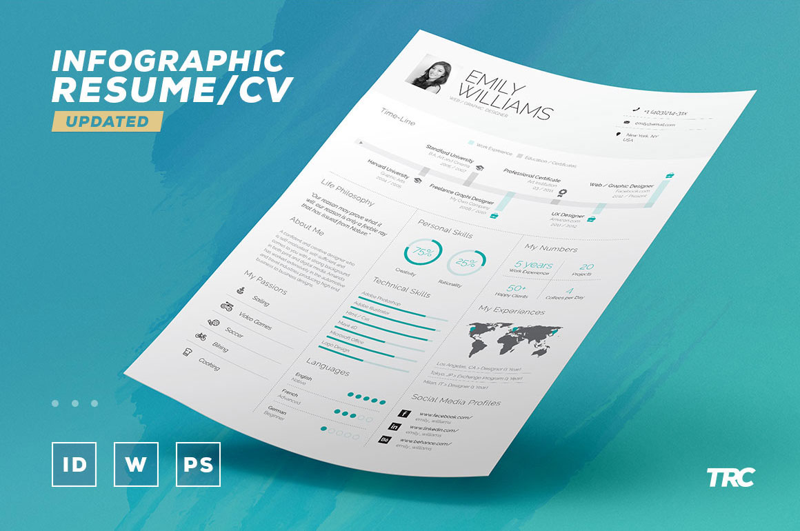 Free Infographic Resume CV Template In InDesign Word PDF Format