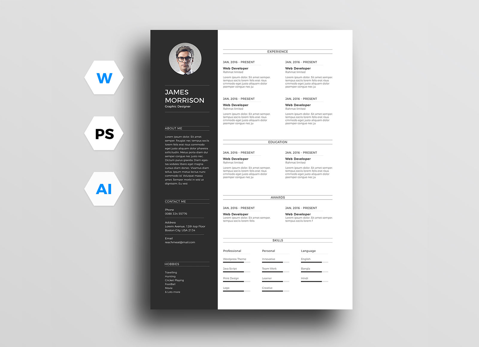 free minimal cv resume template in word  ai  u0026 psd