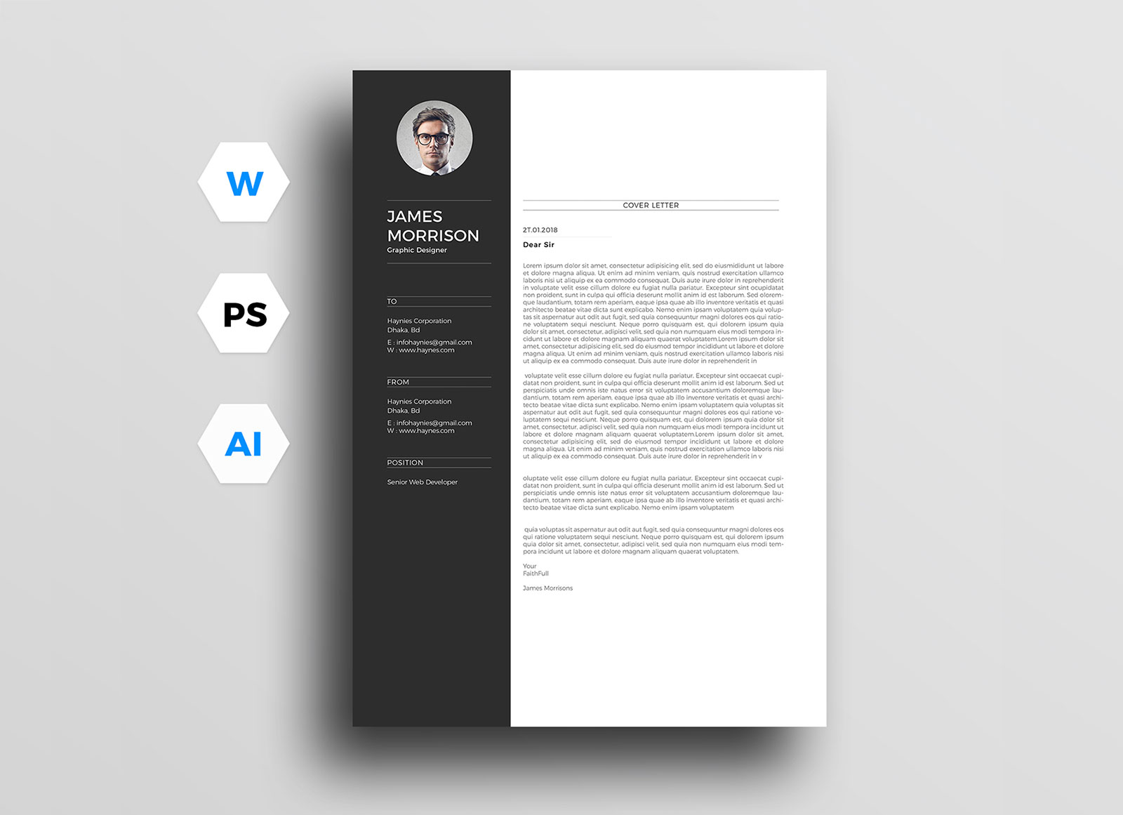 free minimal cv resume template in word, ai & psd - good resume