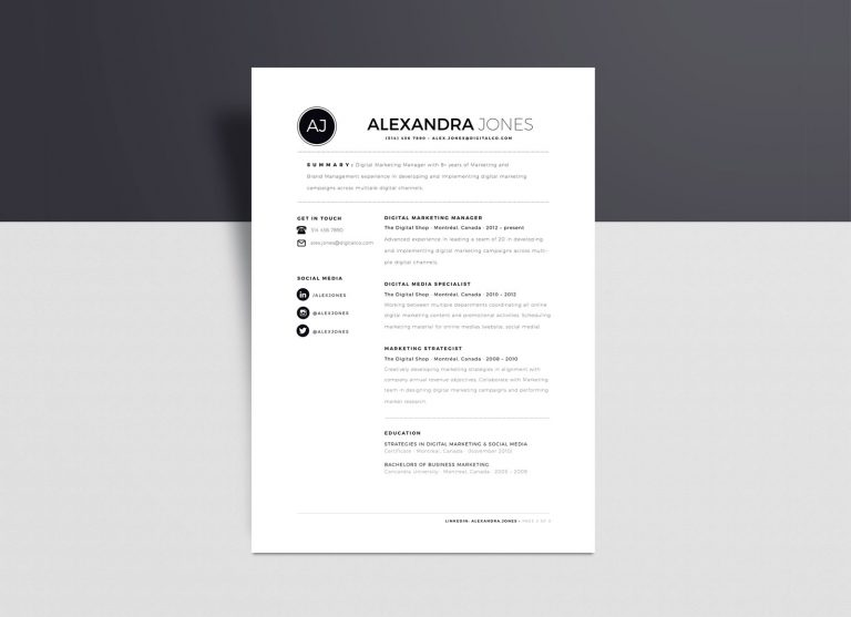Free Minimalist Resume Template In INDD, Ai & Word Format