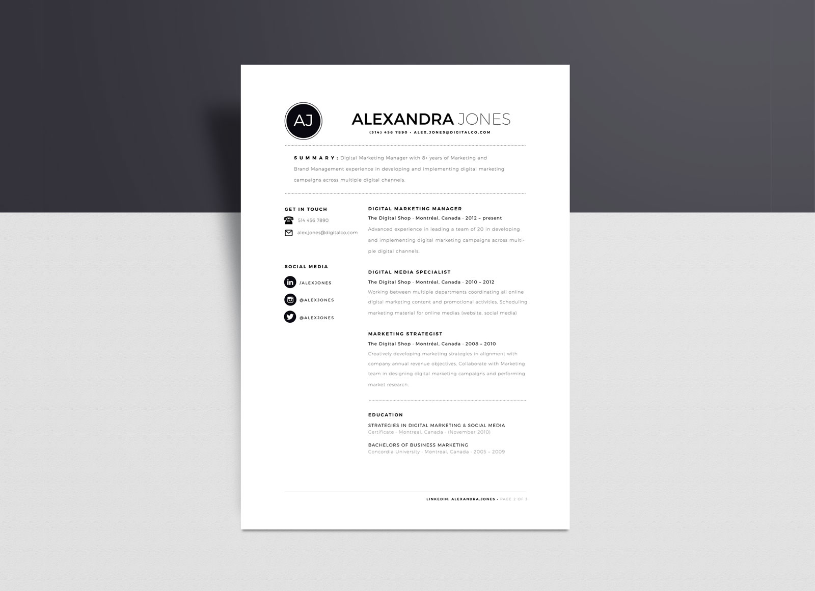 Free Minimalist Resume Template In Indd Ai Word Format Good