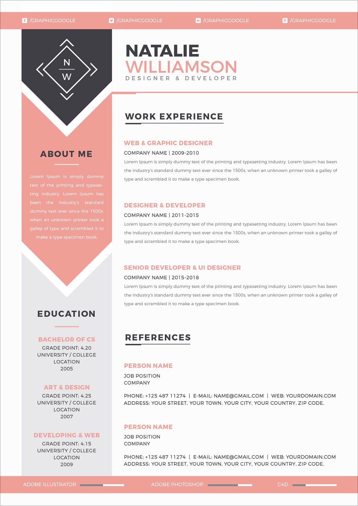 Free Modern Resume CV Template Cover Letter In Ai Format For Designers And Developers