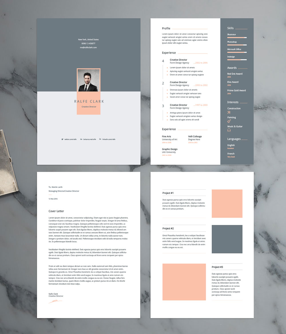 Free Modern Resume Template Cover Letter Portfolio In Ai Format