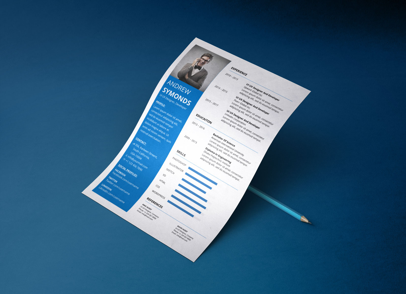 free modern resume template in word docx format