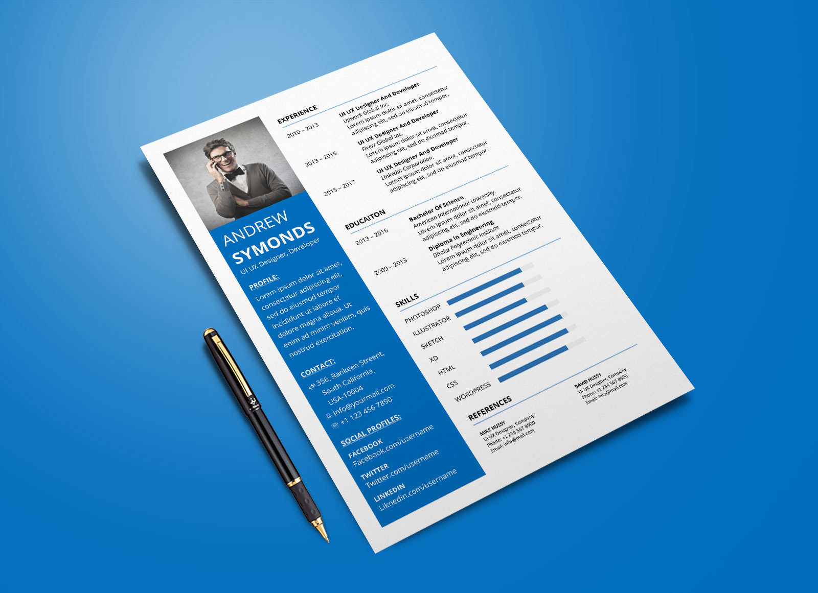 Free Modern Resume Template In Word DOCX Format - Good Resume