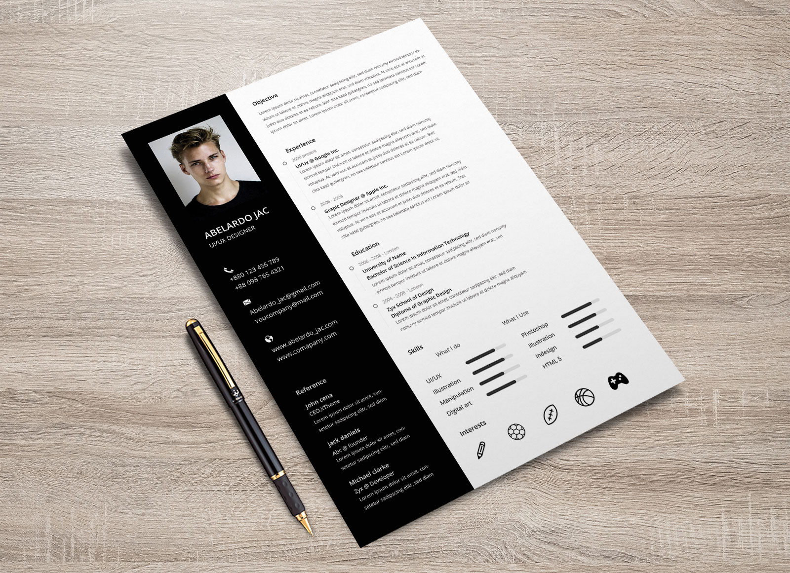 free psd resume cover letter template design for web designers