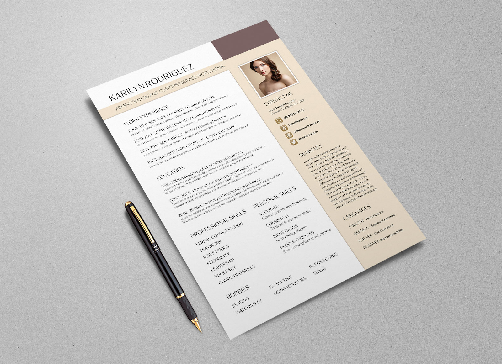Free-PSD-CV-Template-for-Front-Desk-Officer-&-Customer-Service-Professional-3