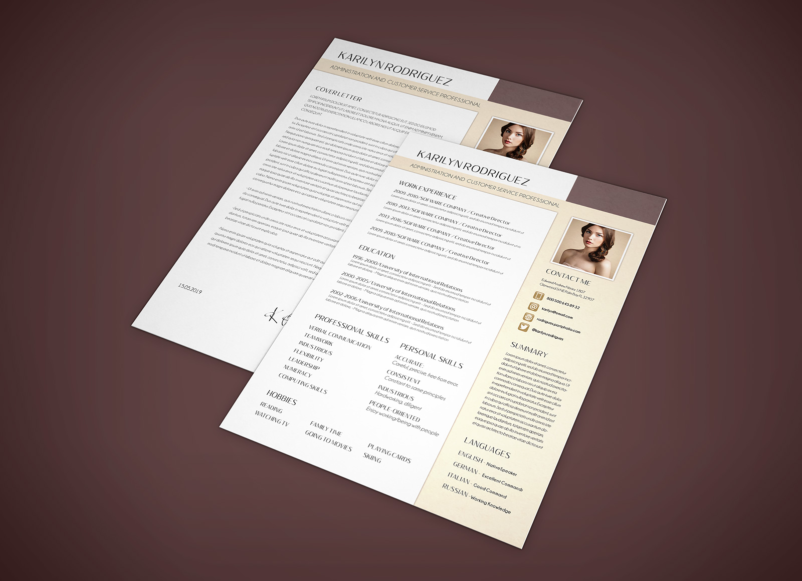 Free-PSD-CV-Template-for-Front-Desk-Officer-&-Customer-Service-Professional-4