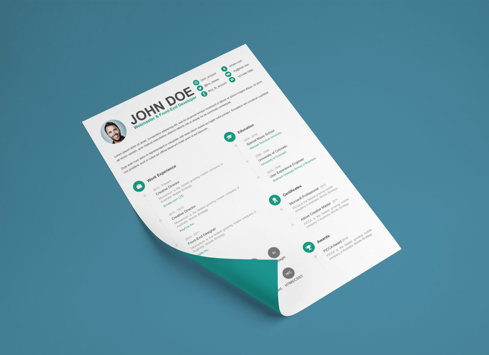 free psd resume cv template for webmasters  u0026 front end