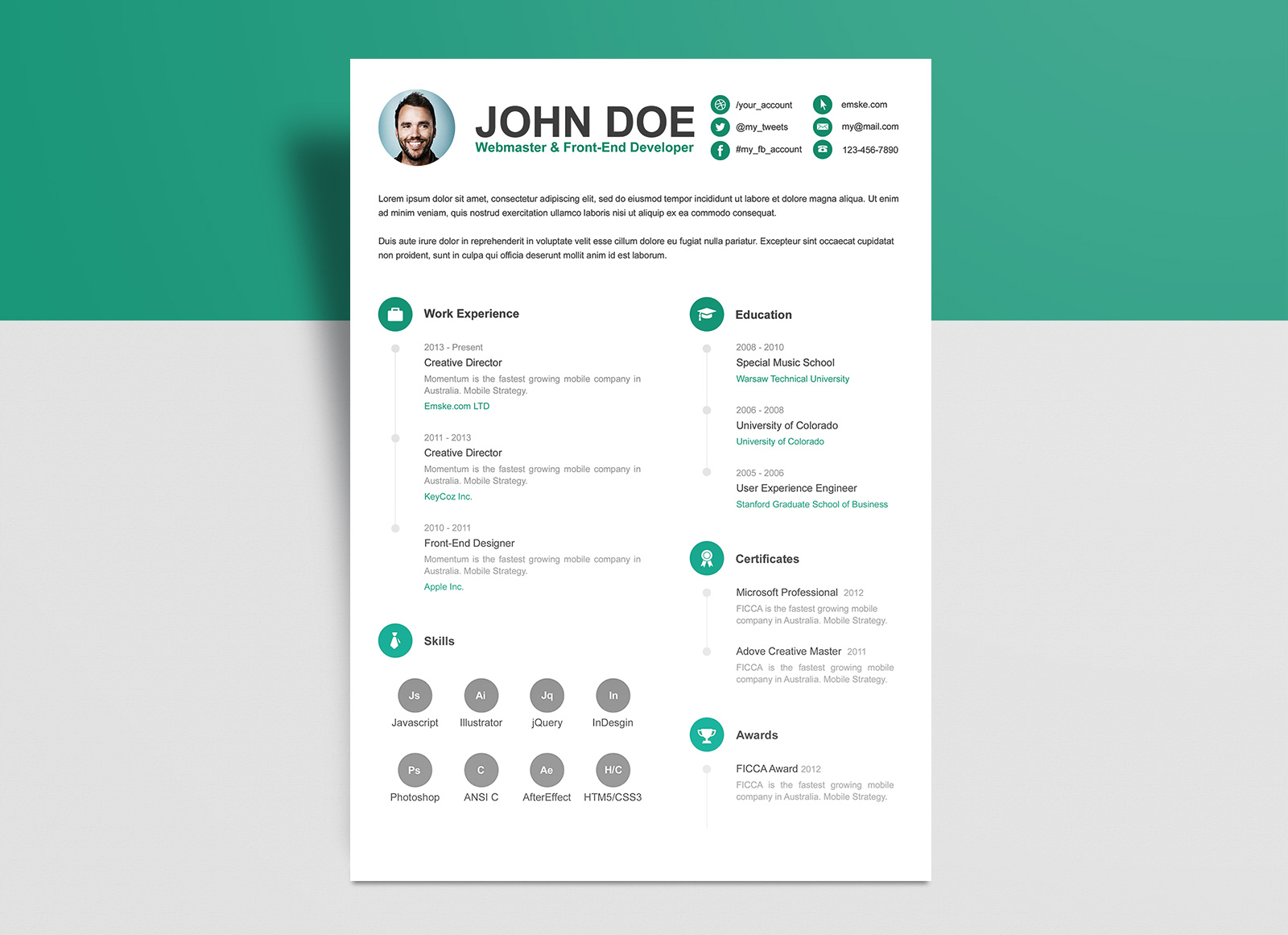 Free-PSD-Resume-CV-Template-for-Webmaster-&-Front-End-Developer-2