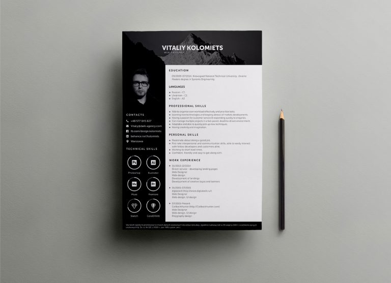 Free PSD Resume Template for Web Developers