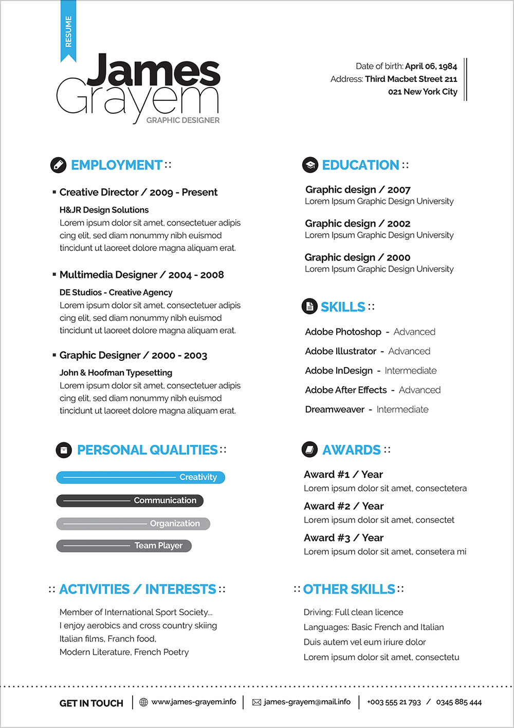 Free Professional Resume   Cv Template  U0026 Cover Letter For Creative Director