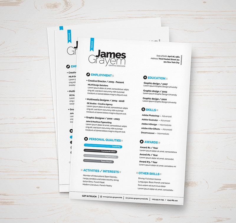 free professional resume   cv template  u0026 cover letter for