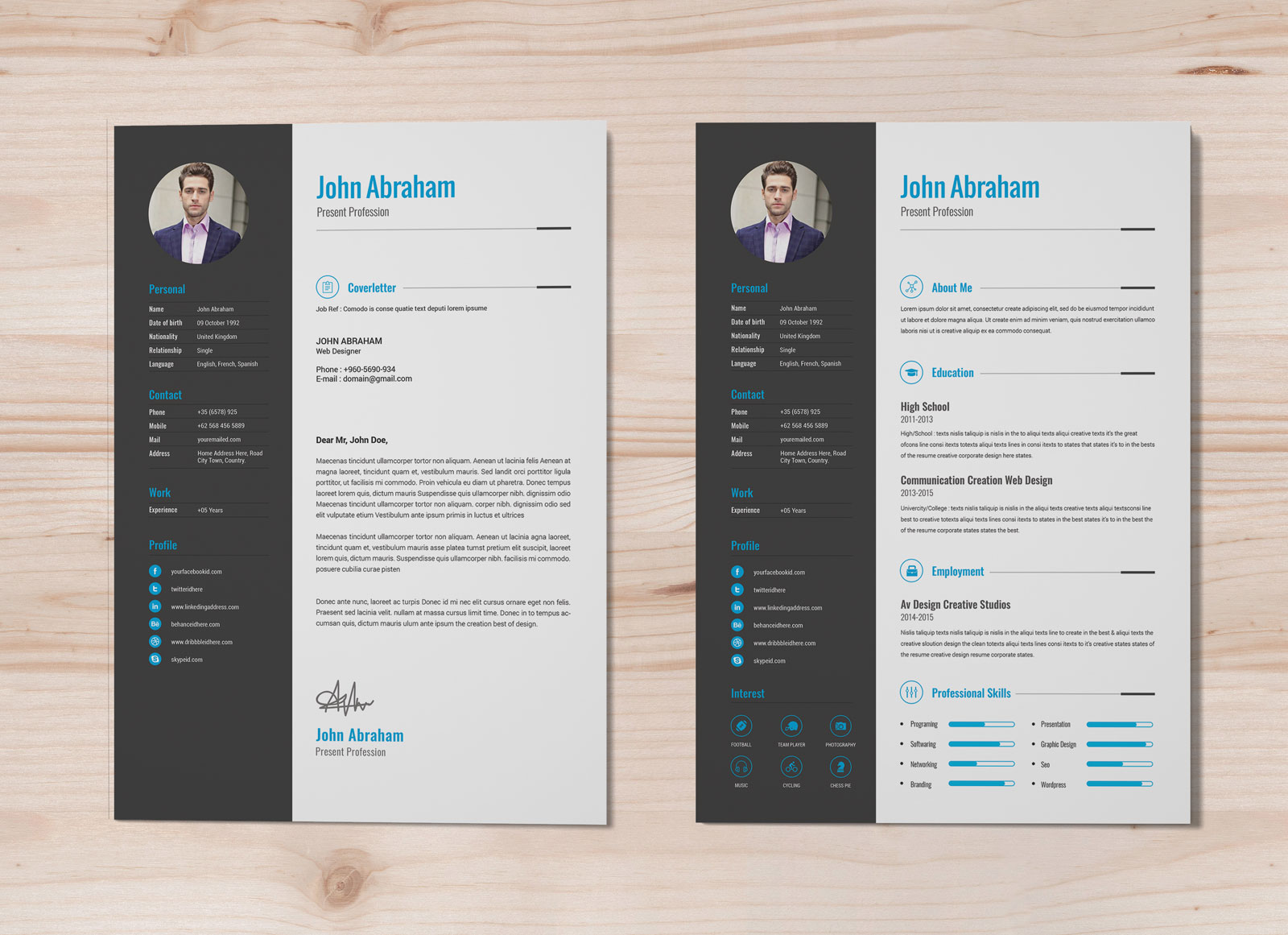Free Professional Resume Template Cover Design In INDD PSD Ai Word DOCX