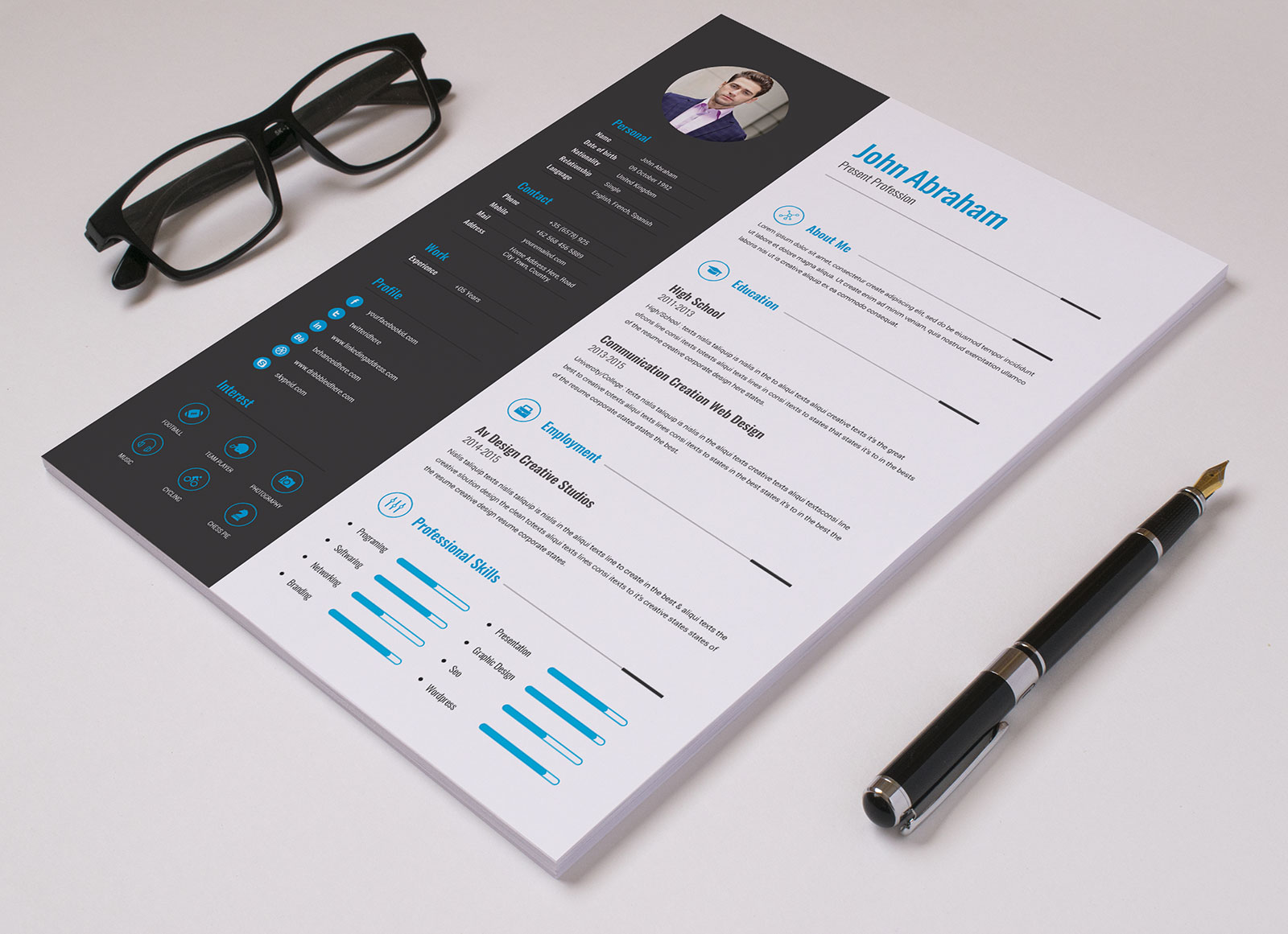 free professional resume template  u0026 cover design in indd