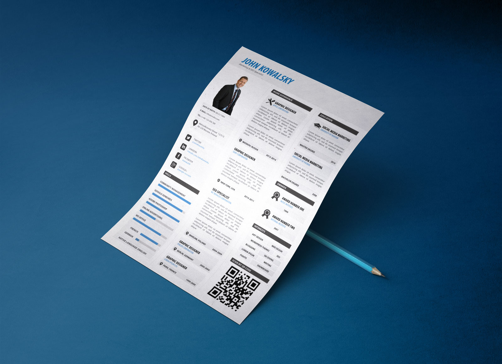 free professional resume template psd for marketing
