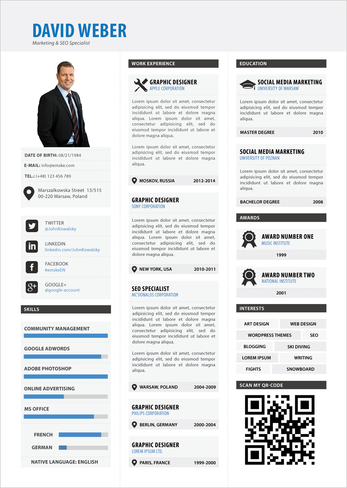 Free-Professional Resume Template PSD For Marketing Manager & Seo Specialist 2