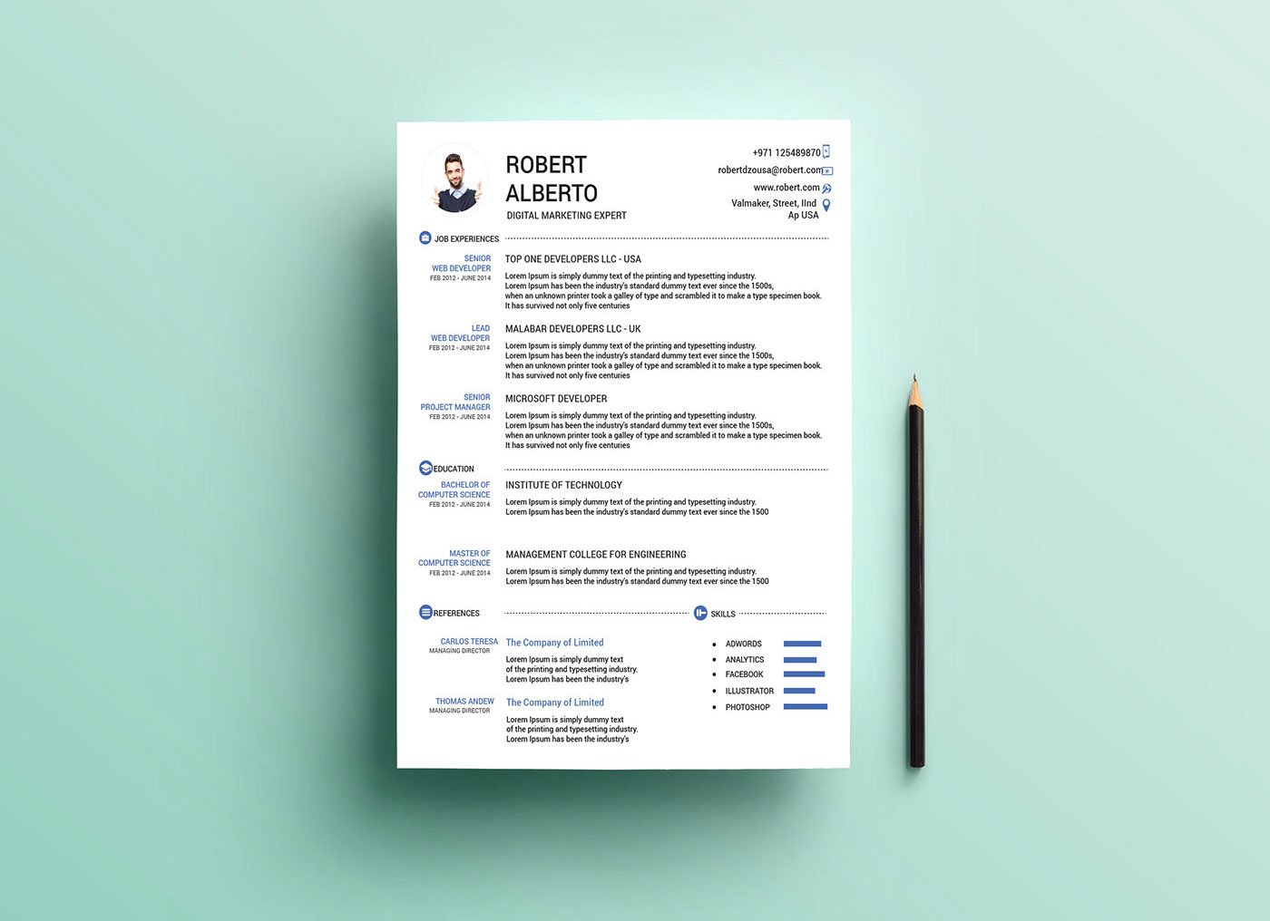 Free Resume (CV) Template & Cover Letter in DOC & Ai Format