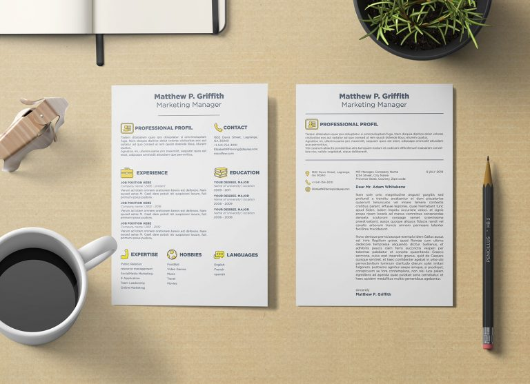 Free Resume/ CV Template & Cover Letter In Word , PSD, INDD & Ai For Marketing Managers
