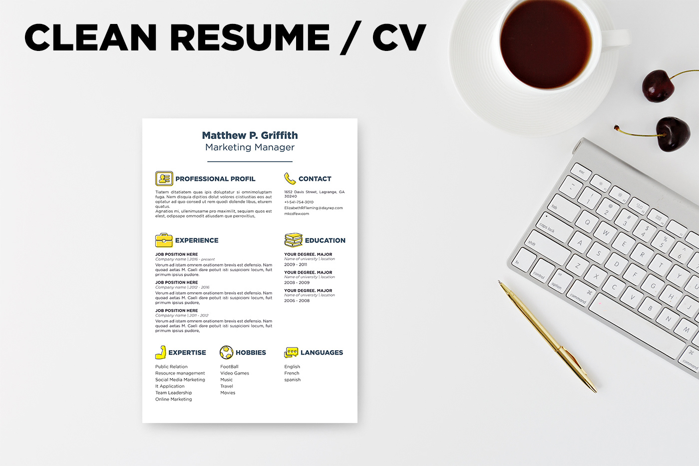 free resume   cv template  u0026 cover letter in word   psd