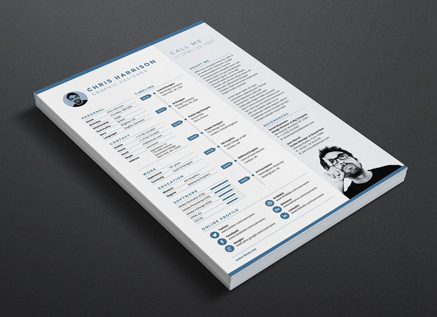 Free-Resume-CV-Template-in-INDD,-Photoshop-PSD-&-Word-DOCX-2