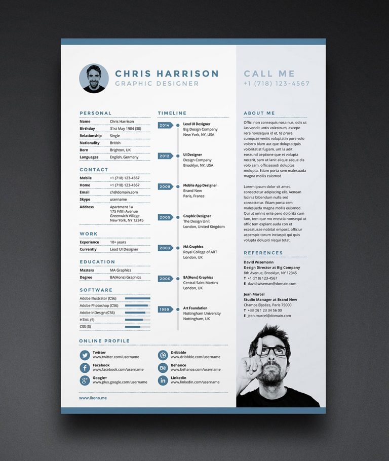 Free Resume CV Template in INDD, Photoshop PSD & Word DOCX