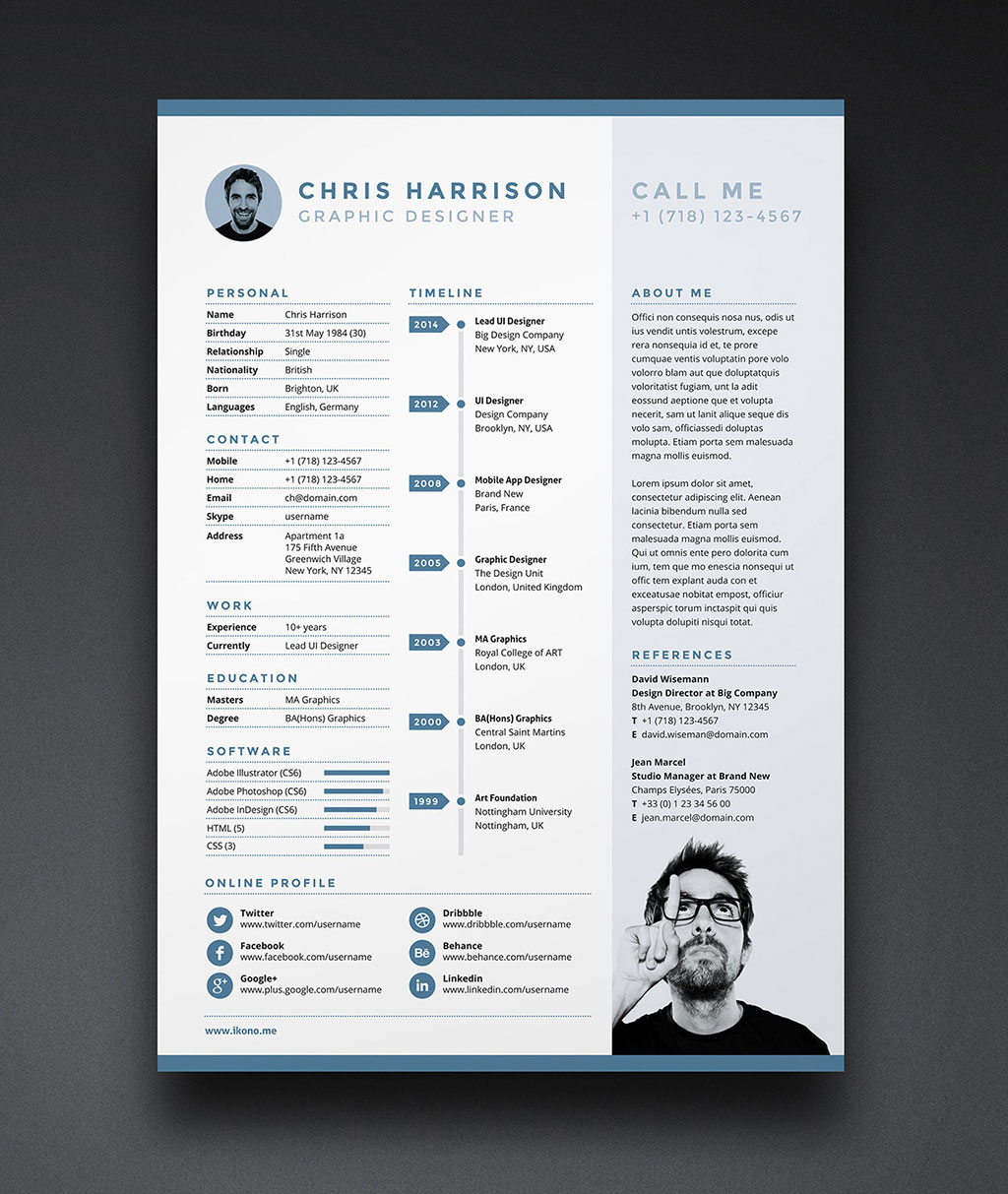 free resume cv template in indd  photoshop psd  u0026 word docx