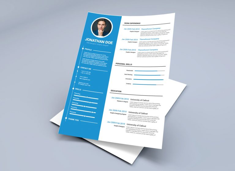 Free Resume Template in Illustrator Ai & Word DOCX Format