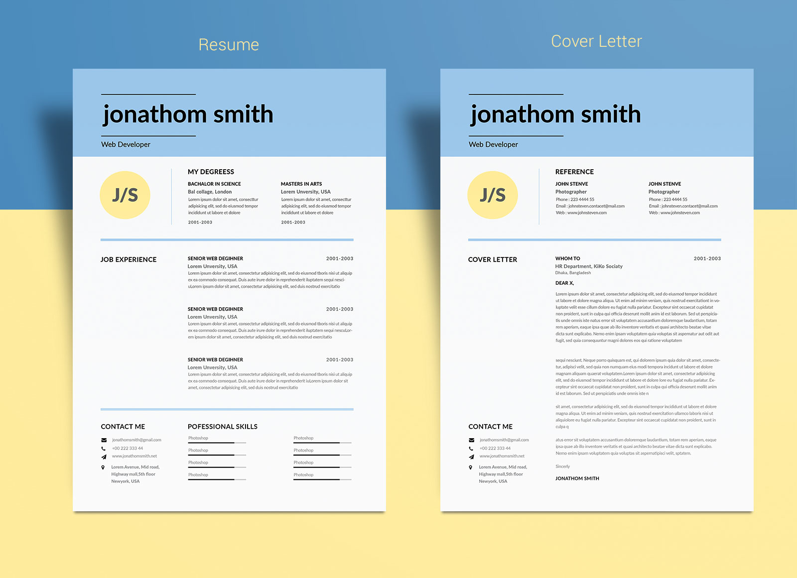 free simple resume template for web developers in psd