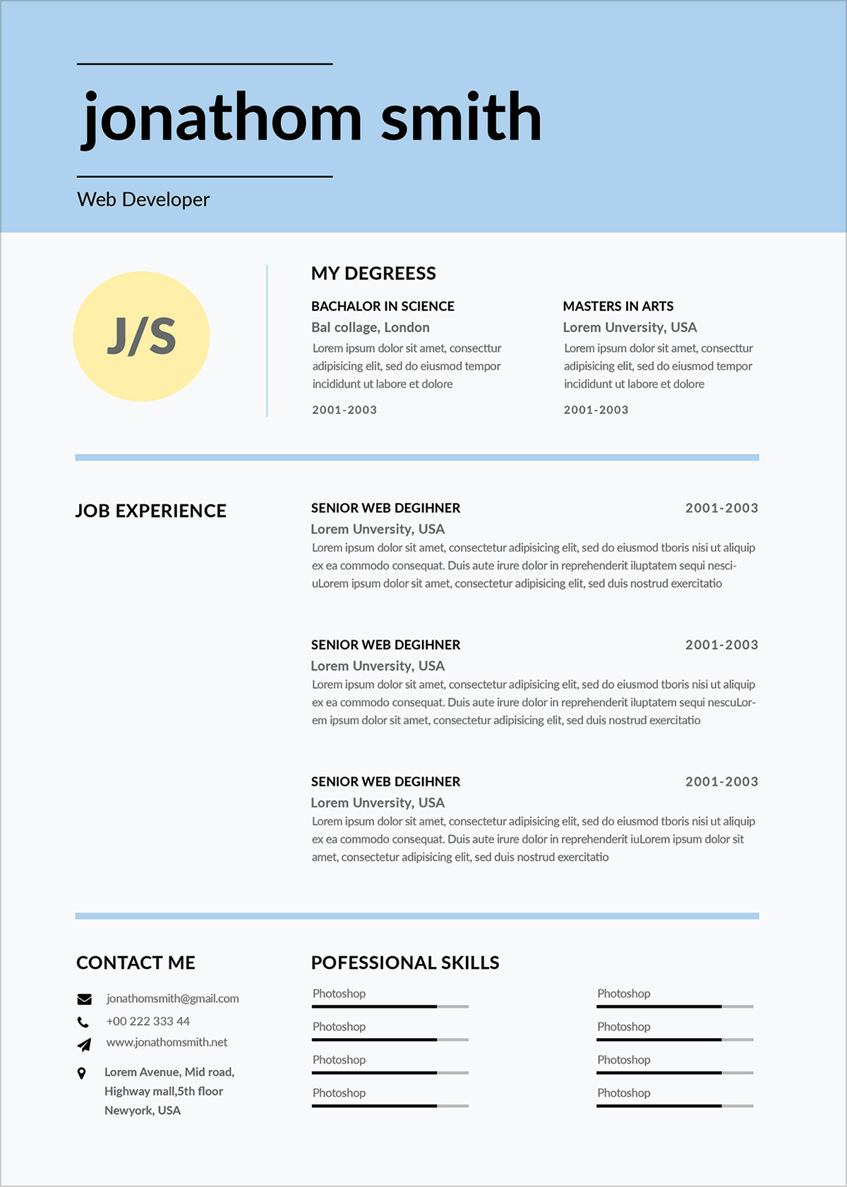 Free-Simple-Resume-Template-For-Web-Developer-in-PSD-Format-(4)
