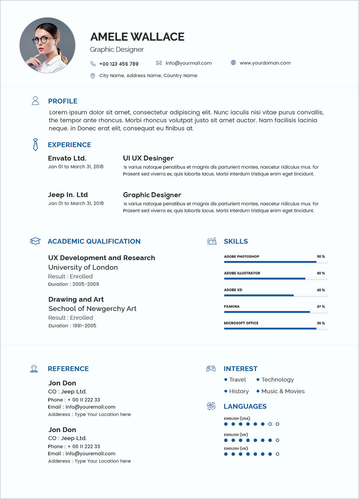 free simple resume template in photoshop psd format
