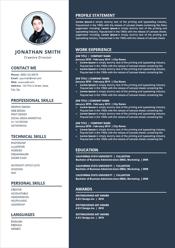 Free Simple To Edit Word Resume Cv Template Good Resume