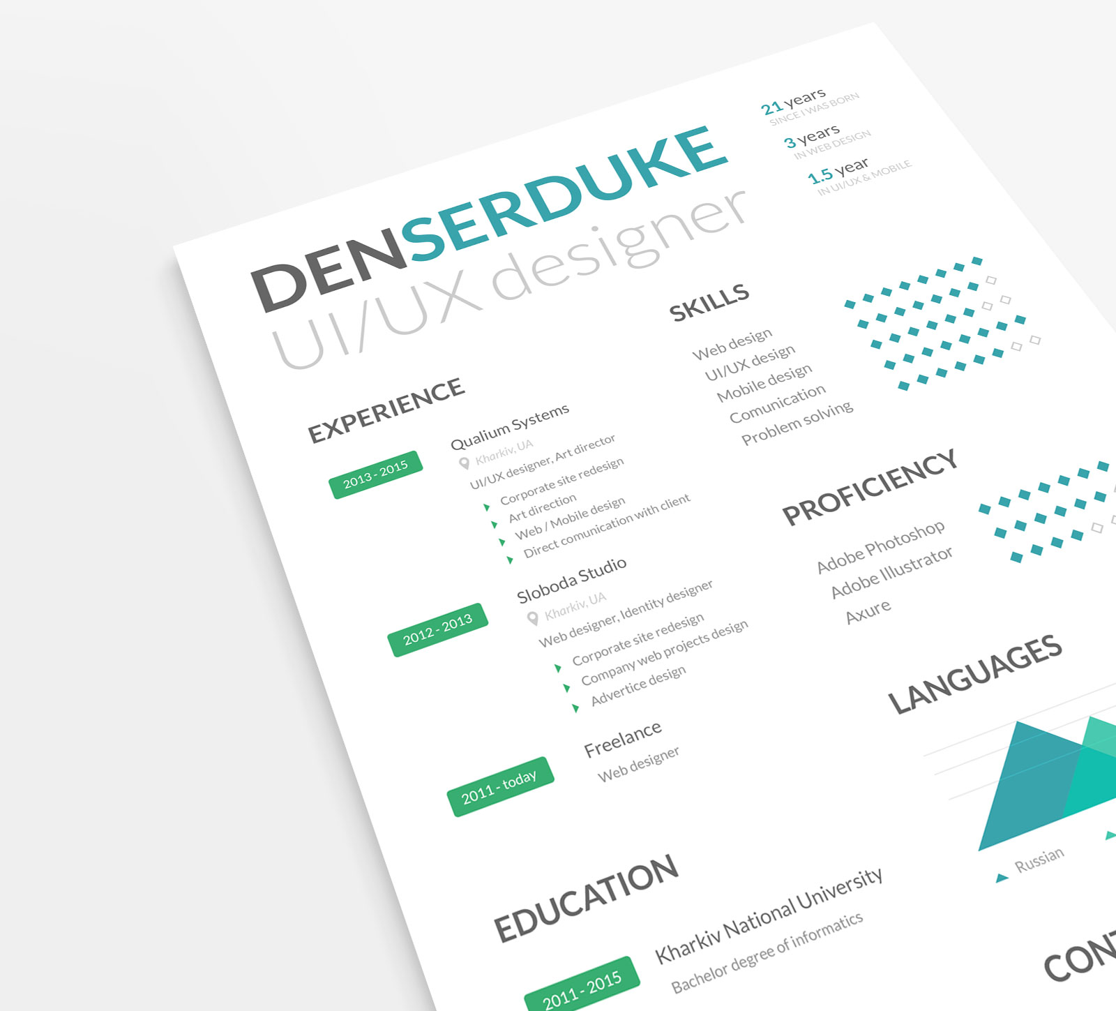 Free Ui Ux Designer Professional Resume Template In Psd Good