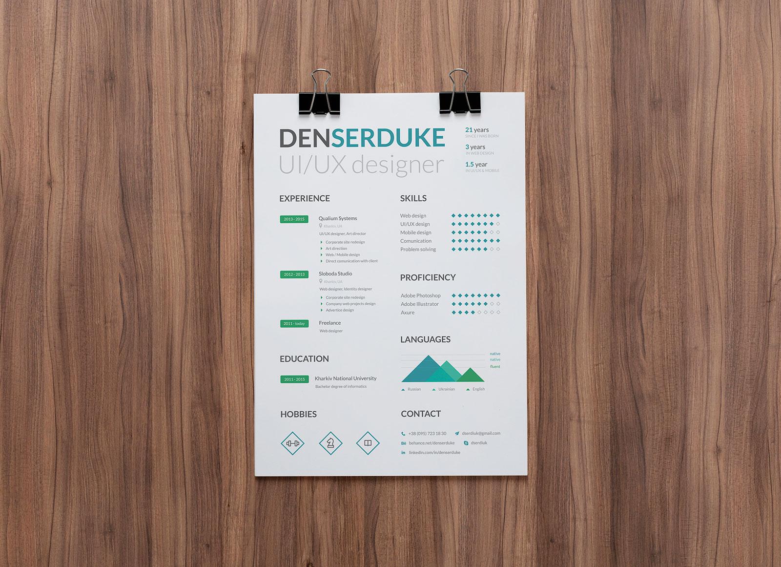 Free Ui Ux Designer Professional Resume Template In Psd Good Resume