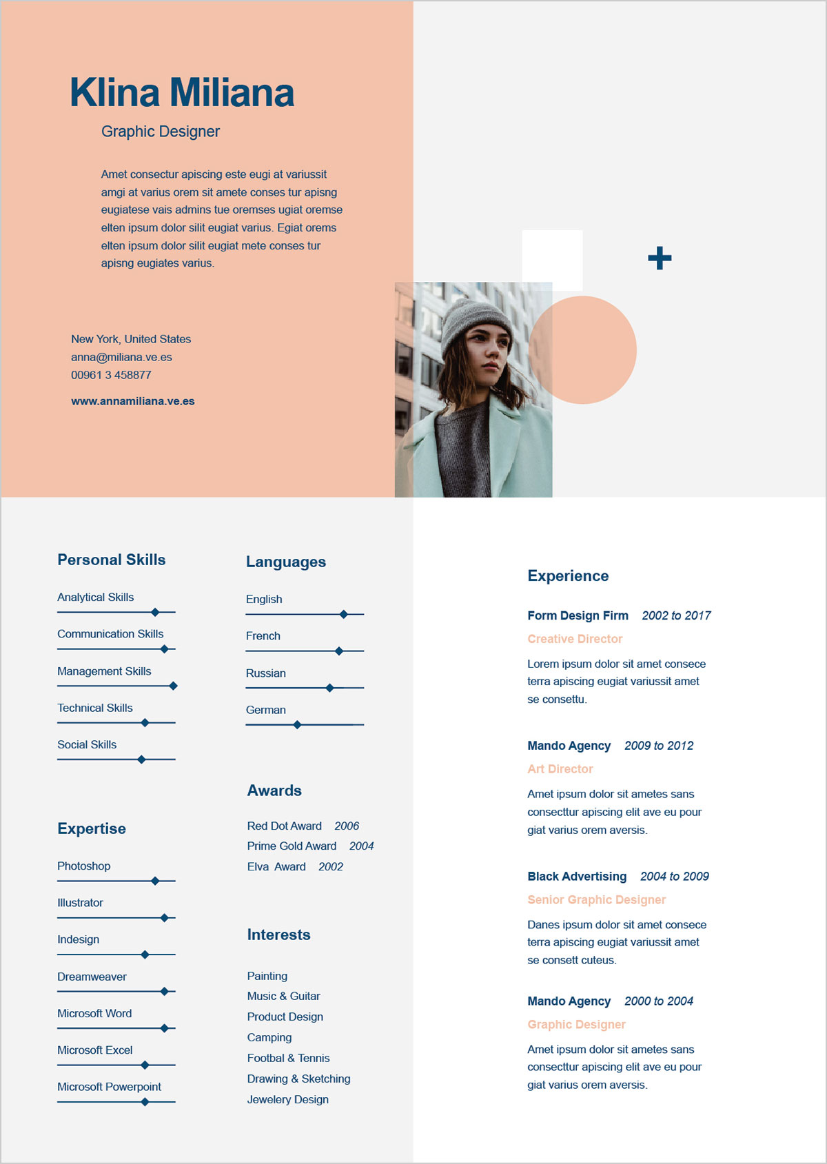 Free Unique Style Resume Template Cover Letter In Ai Format
