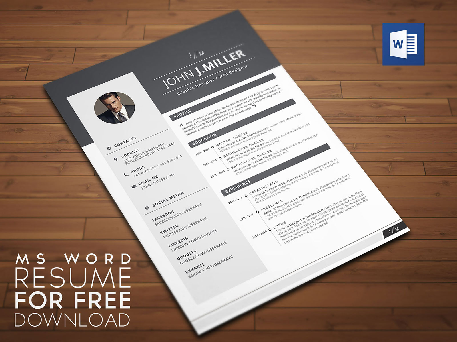 Free Download Resume Cv Template For Ms Word Format Good