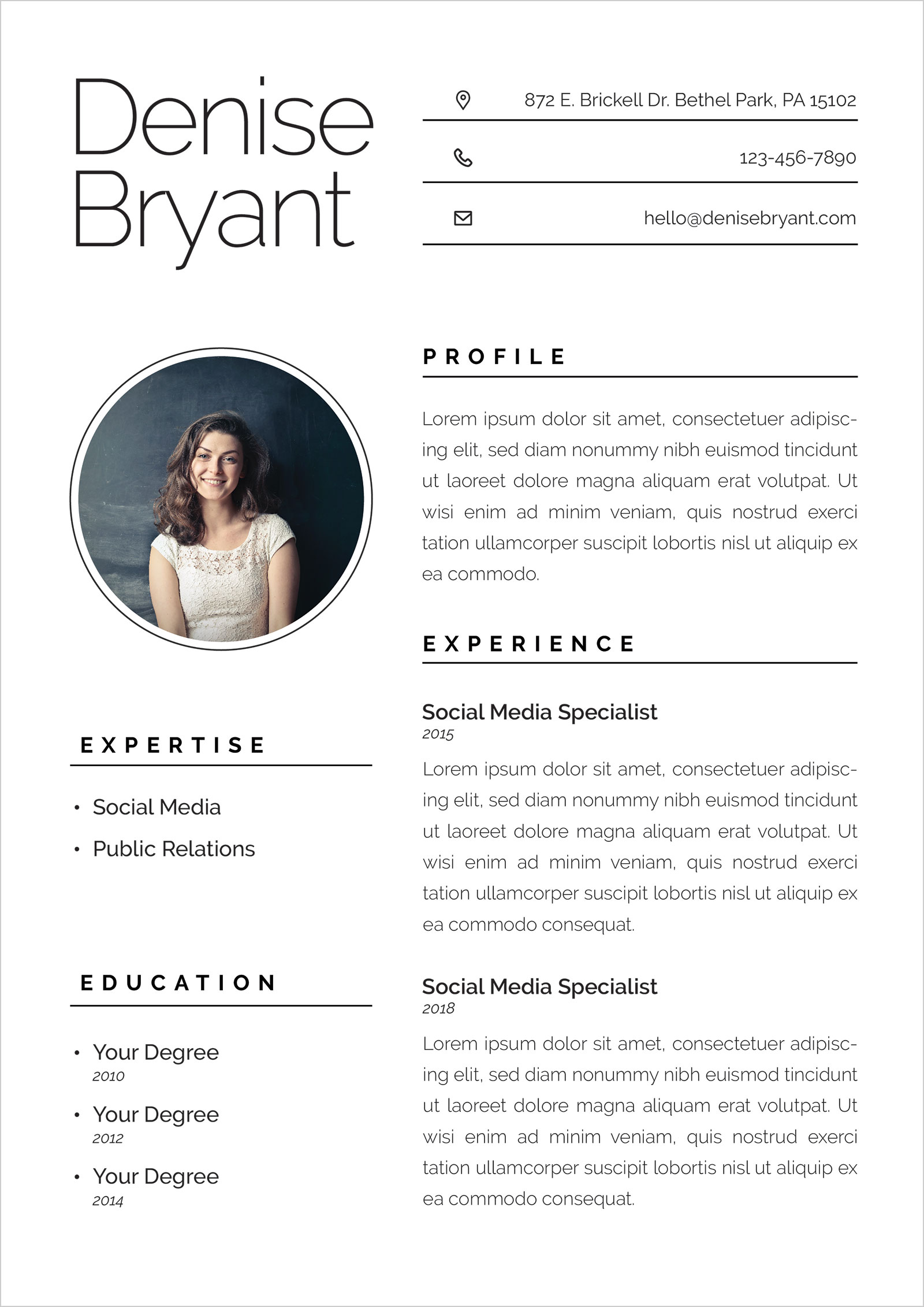 free ai resume cv format for social media specialists