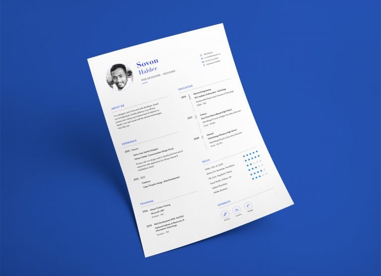 Free CV/ Resume Template In PSD & Ai For Web Developers