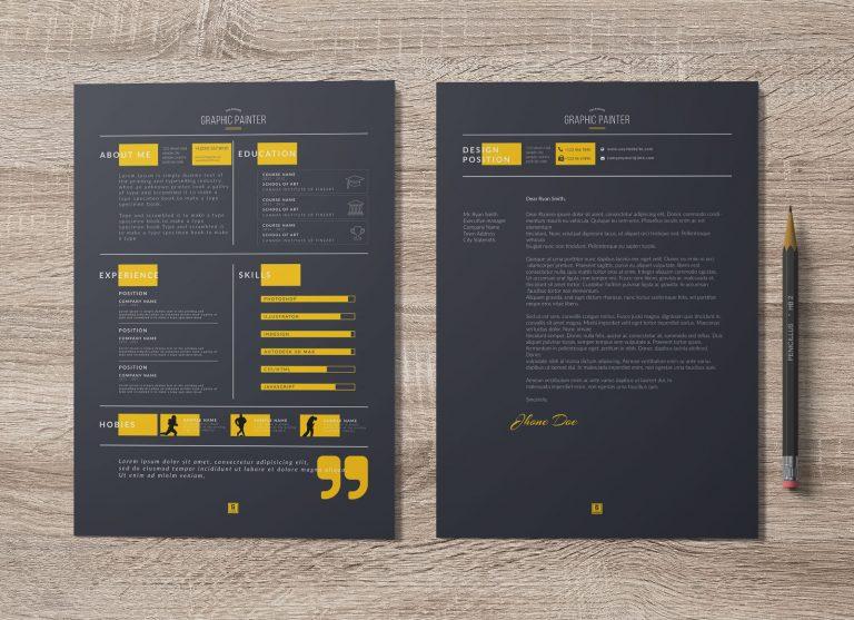 Free Dark & Light PSD & Word Resume Template, Cover Letter & Portfolio Design